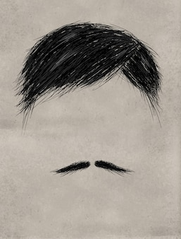 Hair and Thin mustache