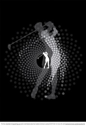 Halftone golfer silhouette with dots