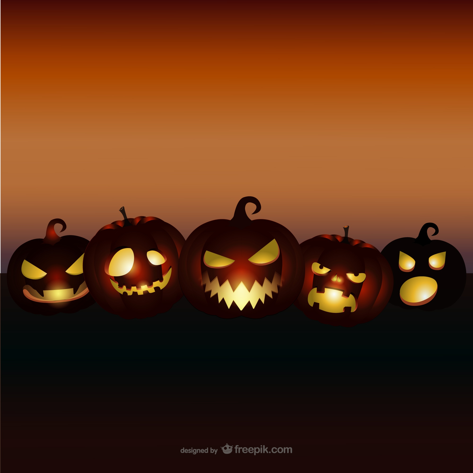 Halloween background with evil pumpkins
