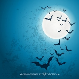 Halloween bats with big moon