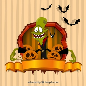 Halloween card with a monster and pumpkins