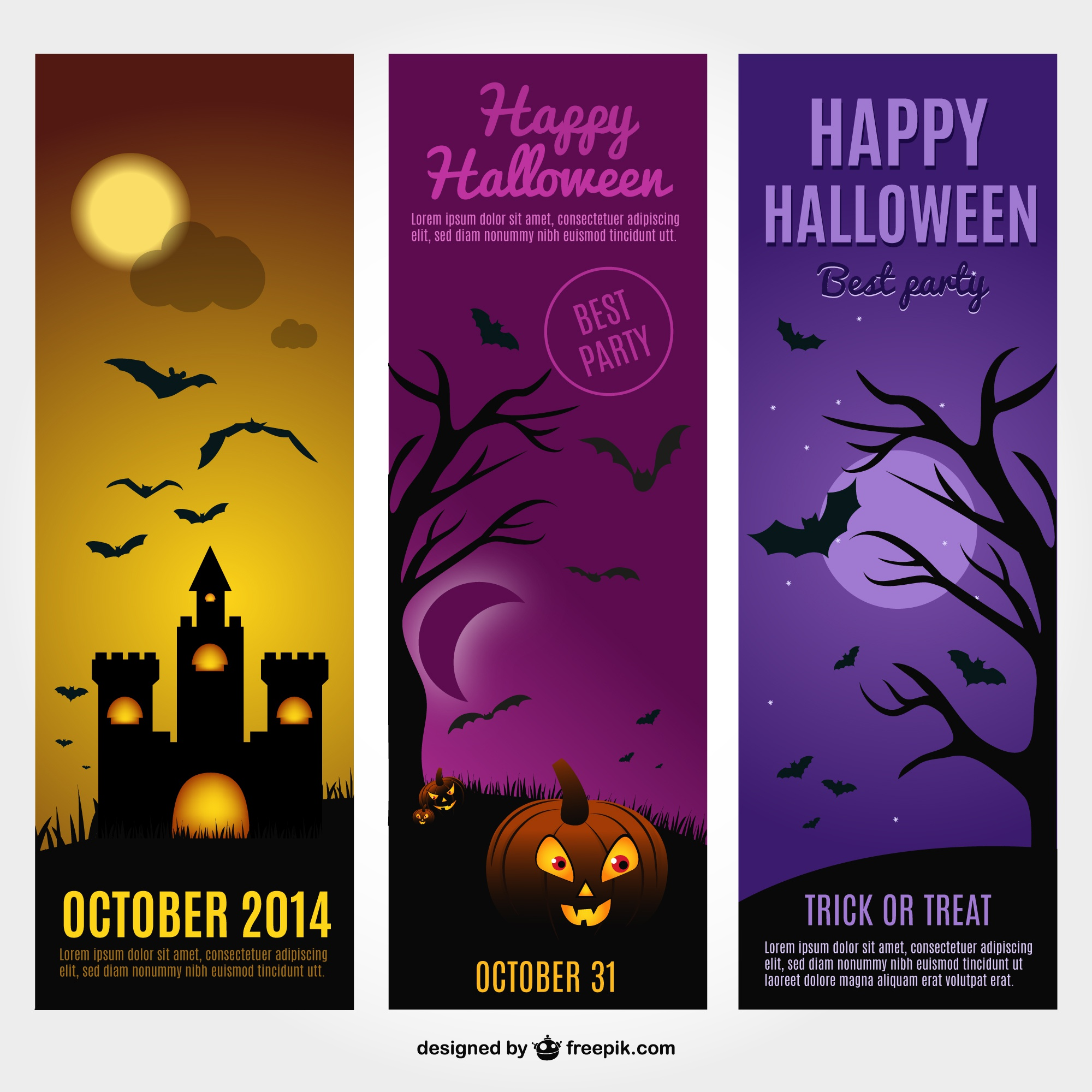 Halloween cards free vector template