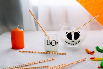 Halloween composition with cocktail tubes