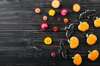 Halloween cookies with flowers