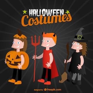 Halloween costumes cartoon vector