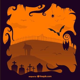 Halloween creepy cemetery illustration