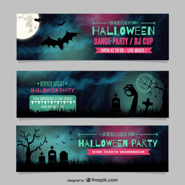 Halloween dance party banner templates