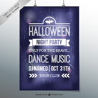 Halloween dance party flyer template