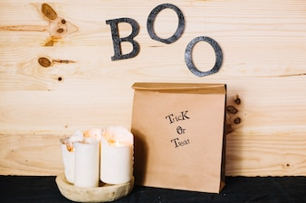 Halloween decorations with boo letters on wall