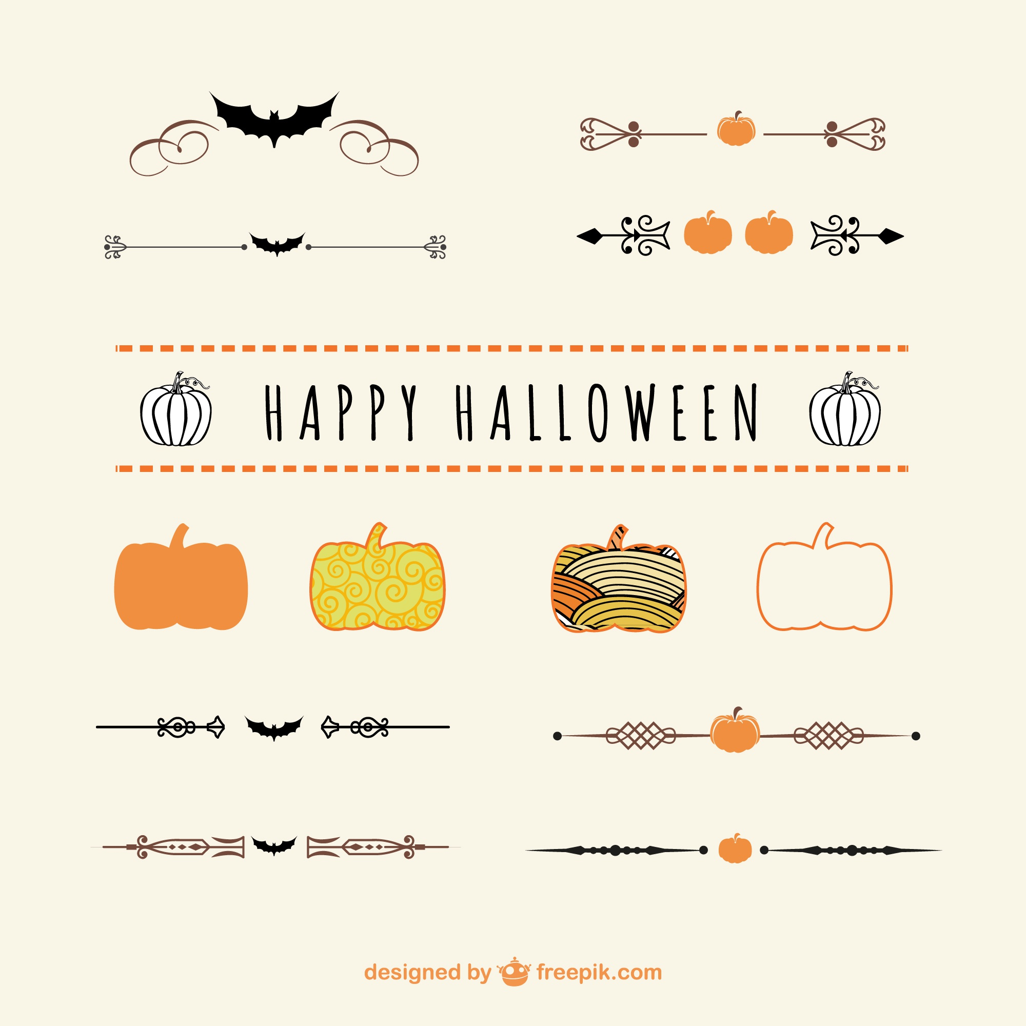 Halloween dividers and ornaments vector art
