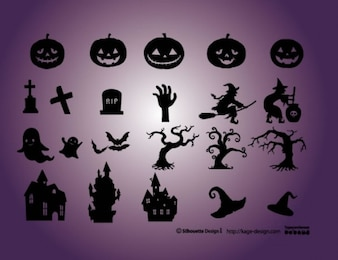 Halloween elements. Pumpkins, cementery, witch, castle, witch.