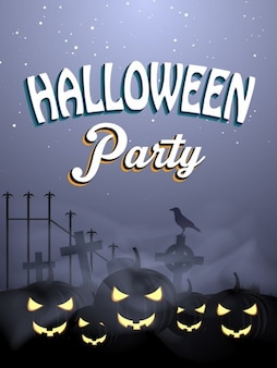 Halloween flyer template with spooky pumkins