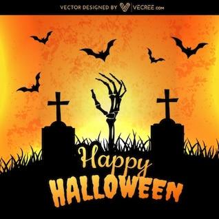 Halloween graveyard with bats flying