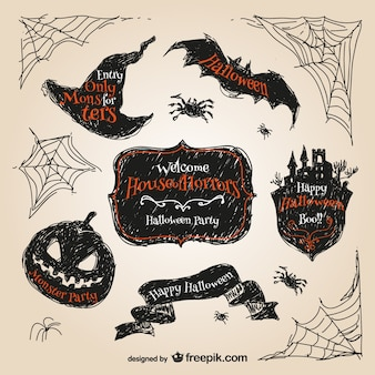 Halloween hand drawn stickers