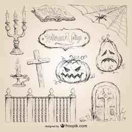Halloween hand drawn vectors