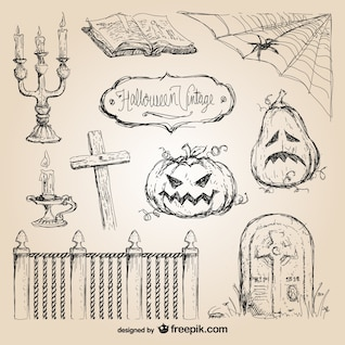 Halloween hand drawn vectors