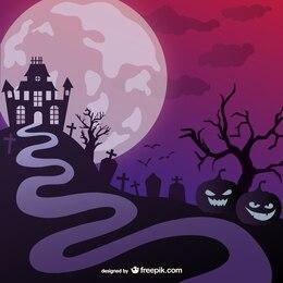 Halloween haunted castle illustration
