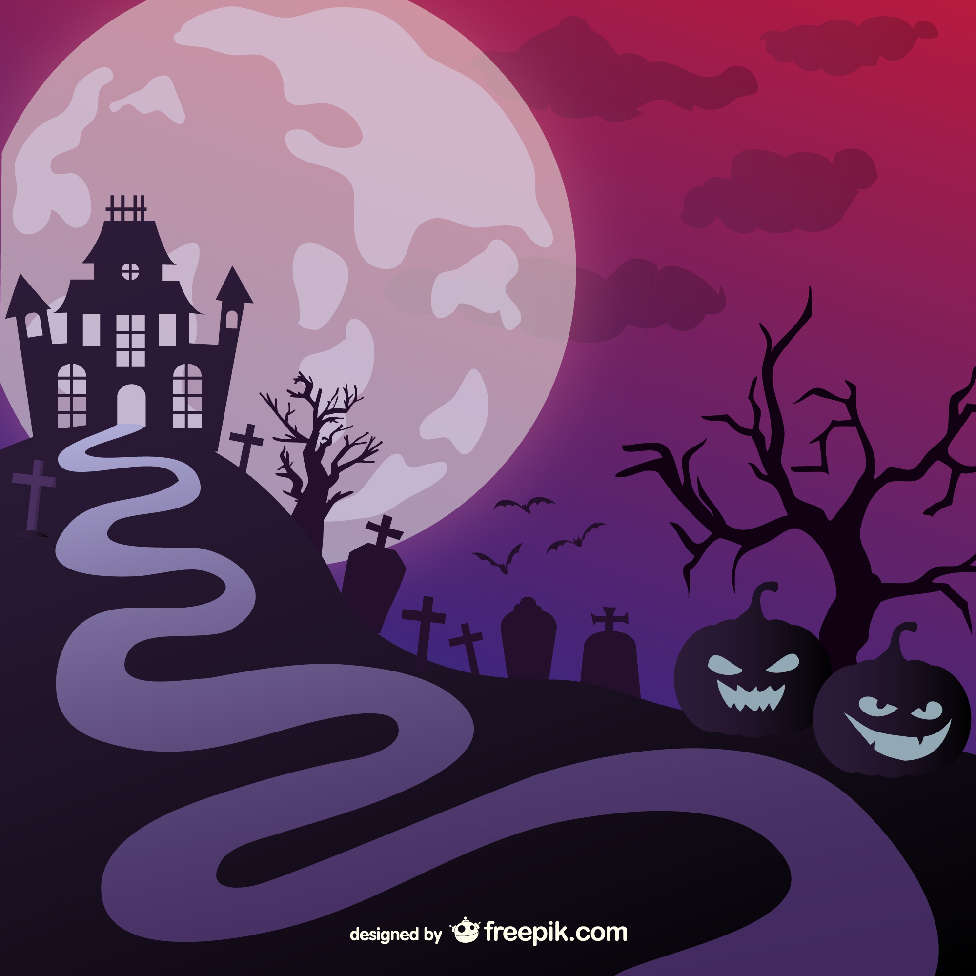 Halloween haunted castle illustration