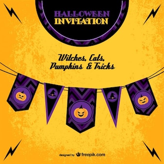 Halloween invitation template with garlands