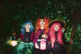 Halloween looking smiling attire broom