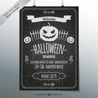 Halloween menu blackboard