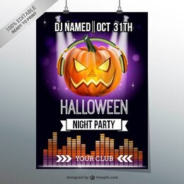 Halloween night party flyer with pumpkin