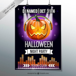 Halloween night party flyer with pumpkin