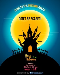 Halloween Party Flyer Template blue night