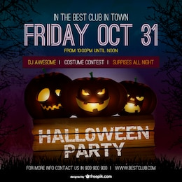 Halloween party poster template with pumpkins