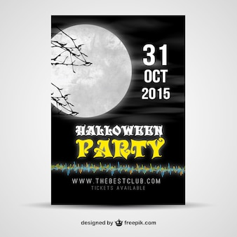 Halloween party poster with a big moon