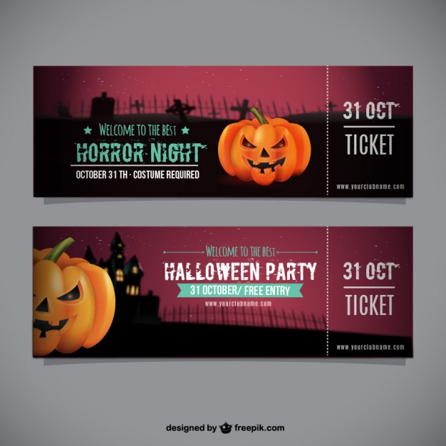 Halloween party ticket template