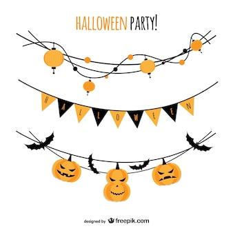 Halloween party vector with garlands