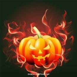 Halloween pumpkin with flames