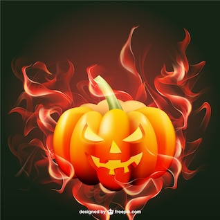Halloween pumpkin with flames