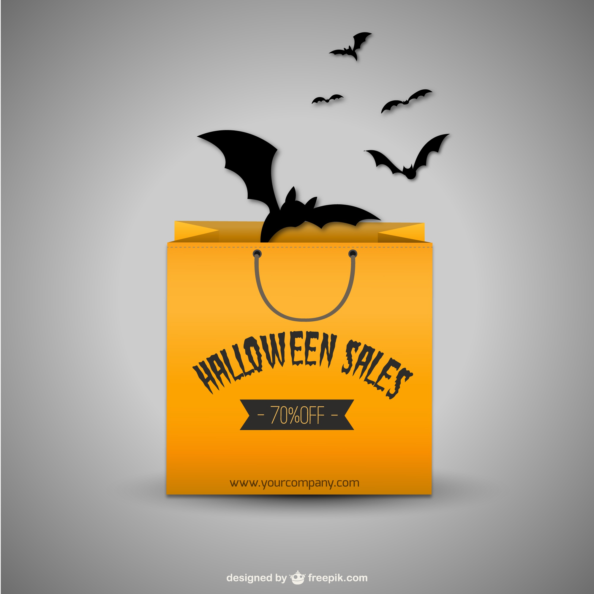 Halloween sales vector with shopping bag