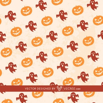 Halloween seamless pattern with pumkins and ghosts