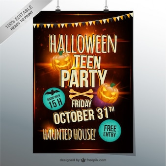 Halloween teen party flyer