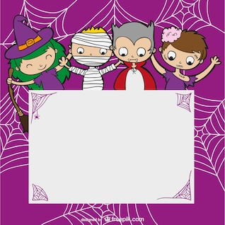 Halloween template with kids