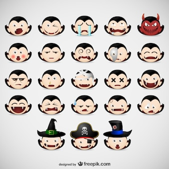 Halloween vampire emoticons pack