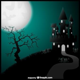 Halloween vector art castle illustration