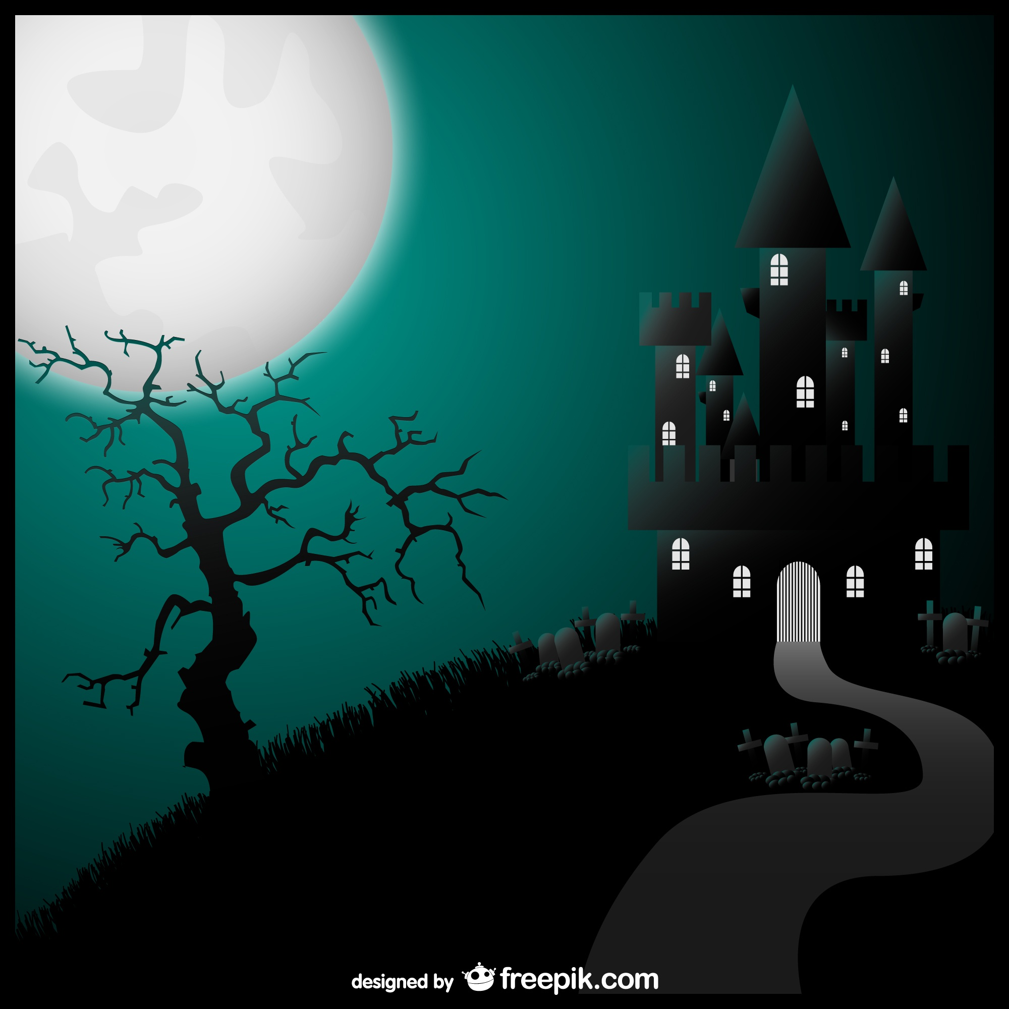 Halloween vector art castle illustration