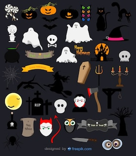 Halloween vector pack pumpkin, ghosts, skulls and terrifying objects