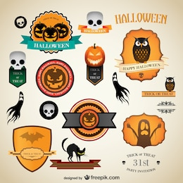 Halloween vintage vector labels