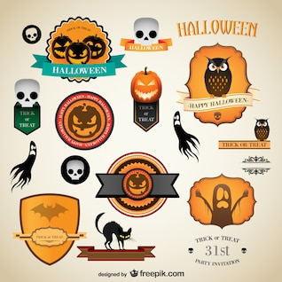 Halloween vintage vector labels