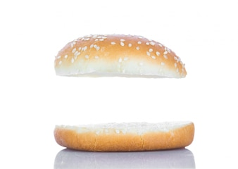 Hamburger bread with a white space