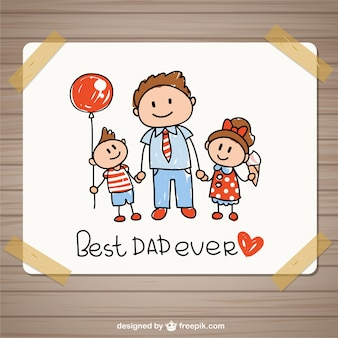 Hand drawing fathers day card