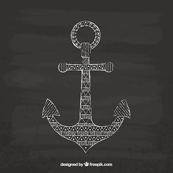 Hand drawn anchor on blackboard
