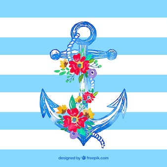 Hand drawn anchor with flowers