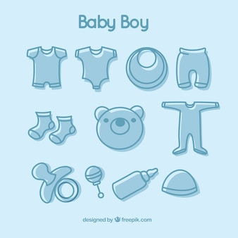 Hand drawn baby boy elements