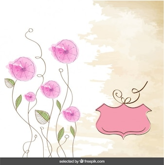 Hand drawn background with pink flowers